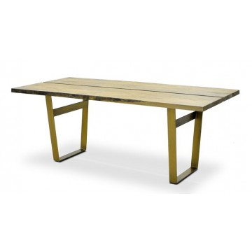 DINING TABLE ( VC SMOKEHOUSE DISTRESS - IRON BROWN - POLISHED BRASS )