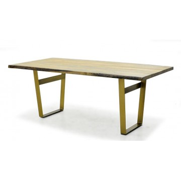 DINING TABLE ( NATURAL FINISHED - POLISHED BRASS  )