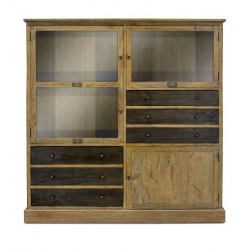 TWO TONE GLAZED BOOKCASE DISPLAY 4DR